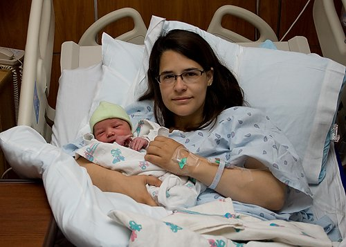 In the hospital with Apollo after my c-section.