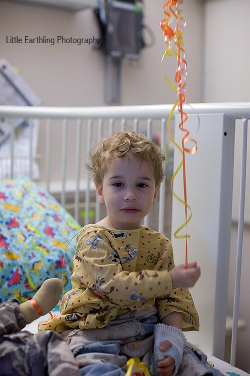 Apollo recovering from a bronchoscopy at Seattle Children's Hospital.