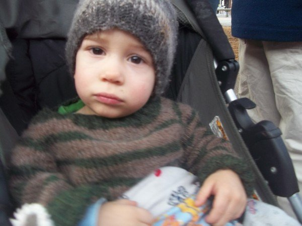 Apollo sitting in stroller with handknit hat and sweater.