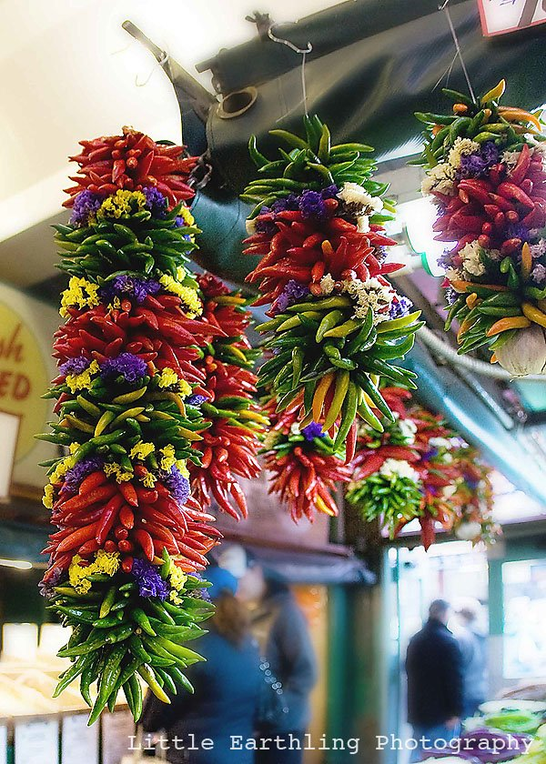 pike place market, pepper string, peppers
