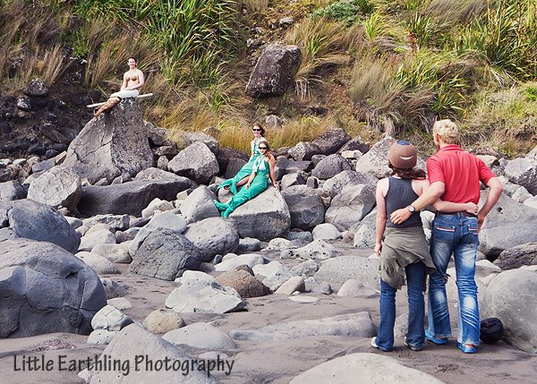 Outrageous proposal: Man stages mermaids on beach in New Zealand.