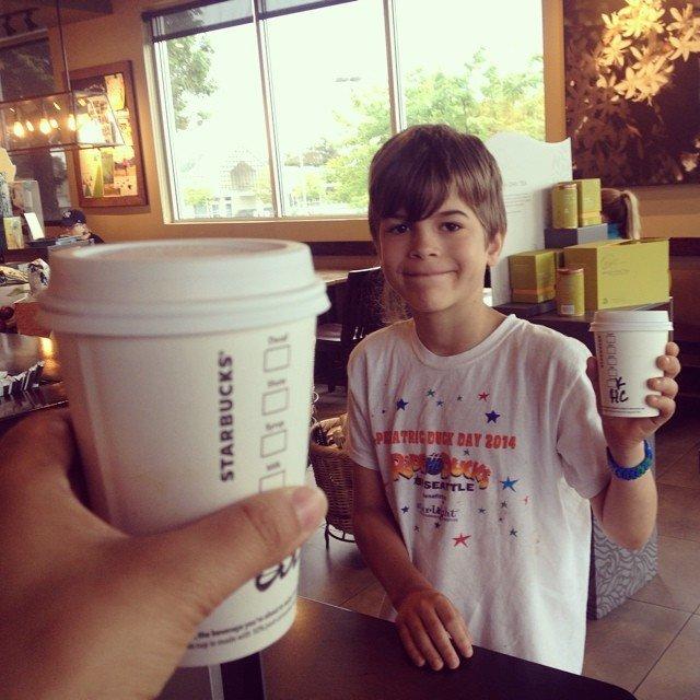 kid at Starbucks