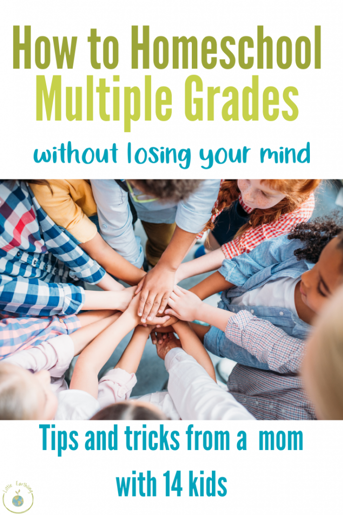 Brilliant tips on how to homeschool multiple grades in a large family.