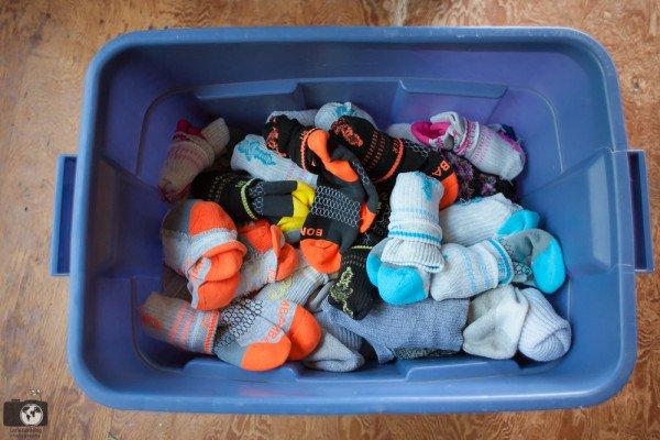 bin full of  folded socks
