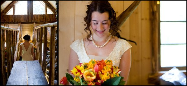 beautiful bride in log cabin