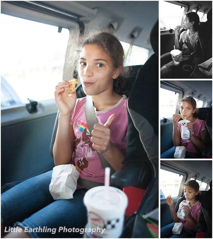 girl eating french fries