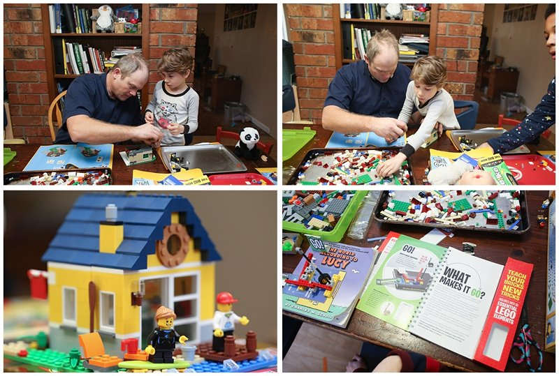 dad and son building with LEGO