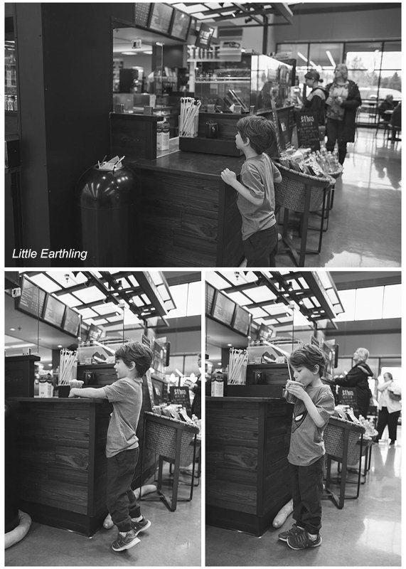 Apollo patiently waiting for his drink at Starbucks. Seattle Children's Feeding Clinic