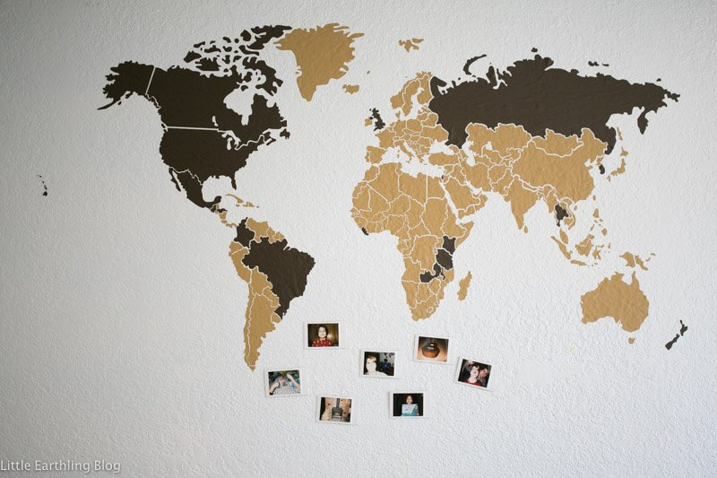 Vinyl map helps teach kids about geography.