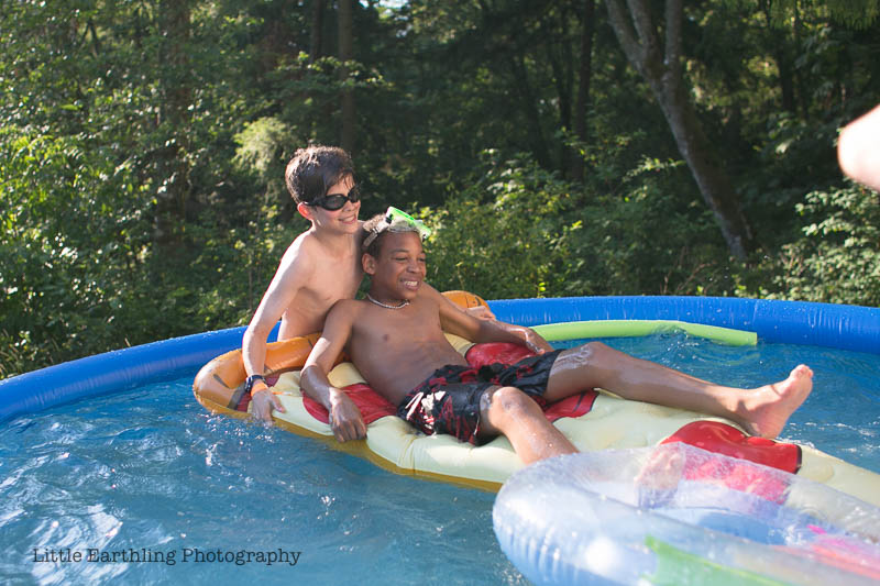Enjoying beautiful sunny, PNW weather in our Intex Easy Set Pool.
