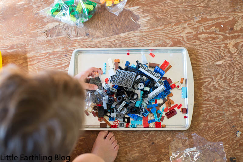 Learning with LEGO: always have your kids dump their LEGO brinks onto a cookie sheet so small pieces don't get lost.