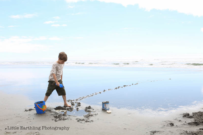 Digging in the endless beaches of the Oregon Coast.
