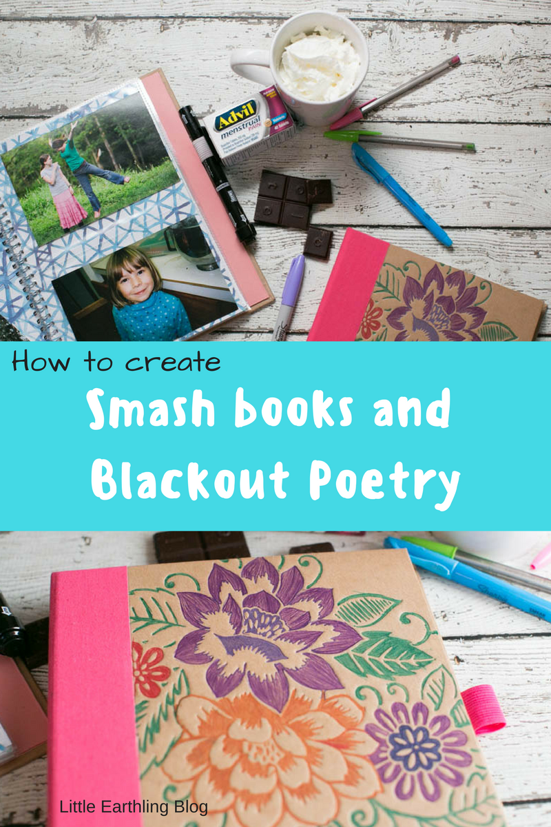 Have fun creating smash book and blackout poetry with your teens!