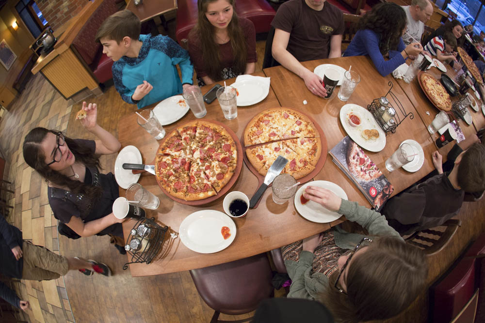 Large family pizza night...sharing the love at Pizza Hut.