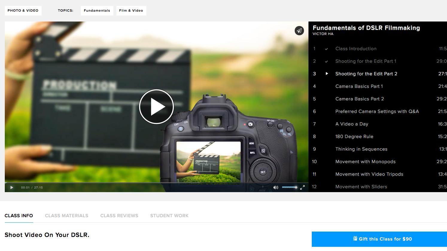 CreativeLive Review: Fundamentals of DSLR Filmmaking.