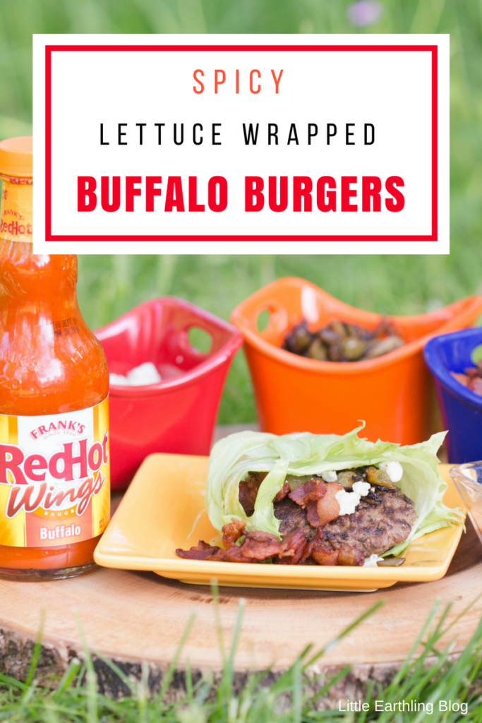Enjoy the perfect family cookout with these Spicy Lettuce Wrapped Buffalo Burgers using Franks RedHot Buffalo Sauce