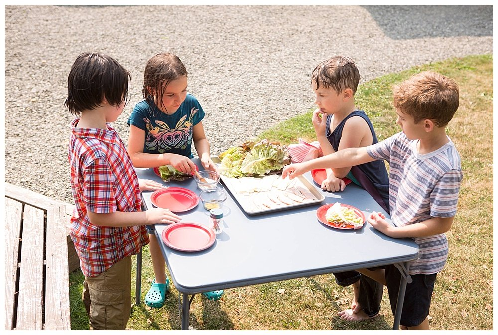 Apollo's friends enjoyed a fun afternoon of water play and and lunch making.
