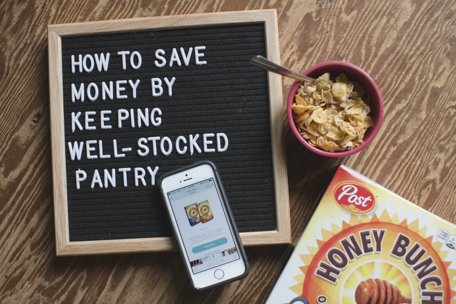 How to save money by having a well-stocked pantry and using the Hopster app.