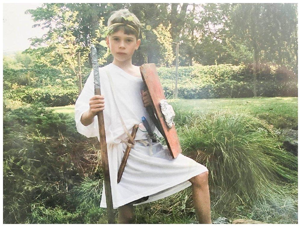 Judah dressed as Roman soldier.