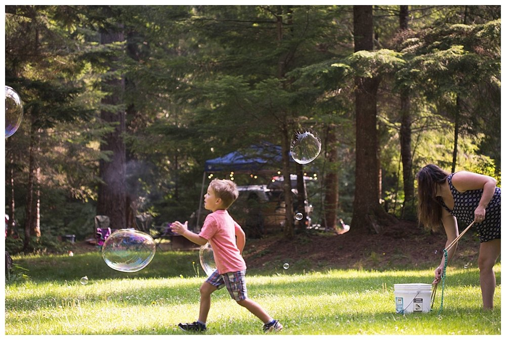 Making giant bubbles at the church campout.