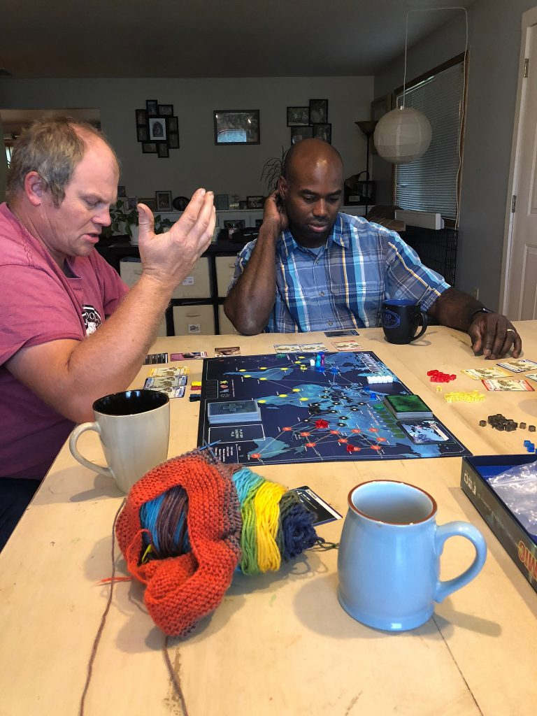 Chuck and Greg take their Pandemic very seriously.