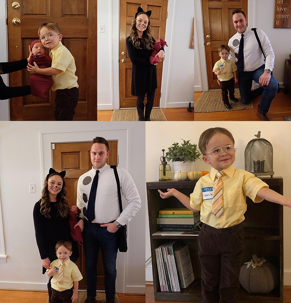 Some friends from church dressed up as Jim, Pam, Dwight, and a beet for halloween.