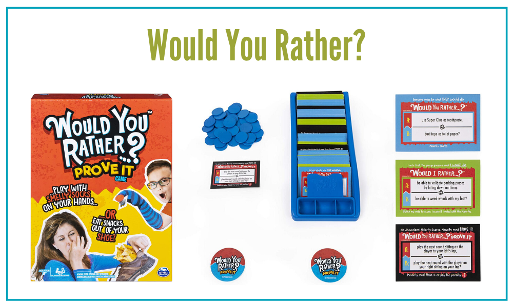 Would You Rather? is a hilairously silly game that works for large groups or large families. This is also the perfect ice breaker game.