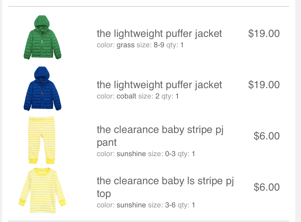 Primary Clothing review. Actual order.