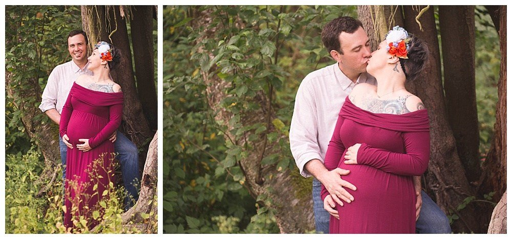 A maternity session in the woods by Bellingham maternity photographer, Renee Bergeron.