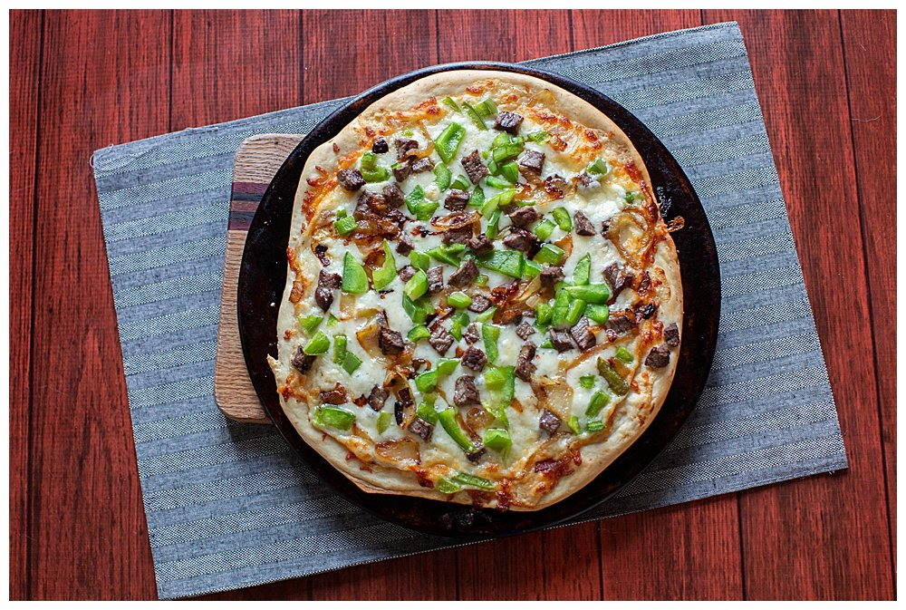 This Philly cheesesteak Pizza tastes just like a Philly cheesesteak...only better!