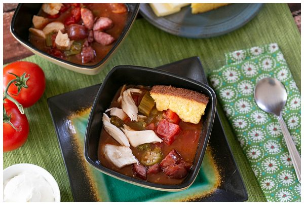 Large family meals made easy. Try this chicken gumbo recipe when you need to feed a crowd.