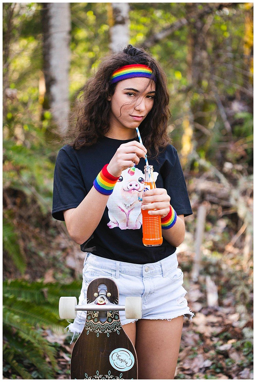 Rainbow Fanta girl in the woods.
