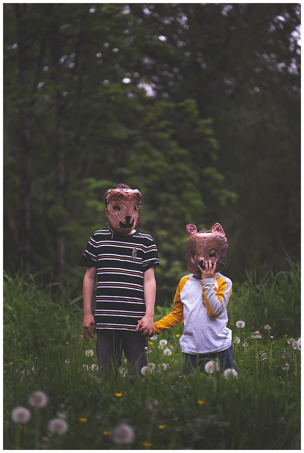 Kids in animal masks heading to the Pet Sematary.