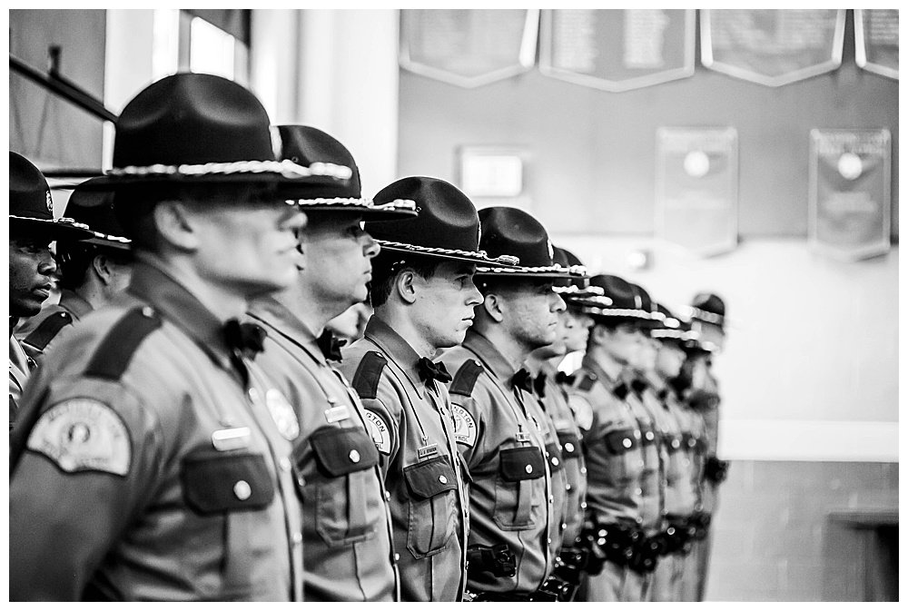 Cadets lined up at Washington State Patrol graduation.