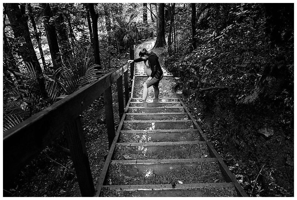Tilly heading down the steps at the falls in Whangarei.