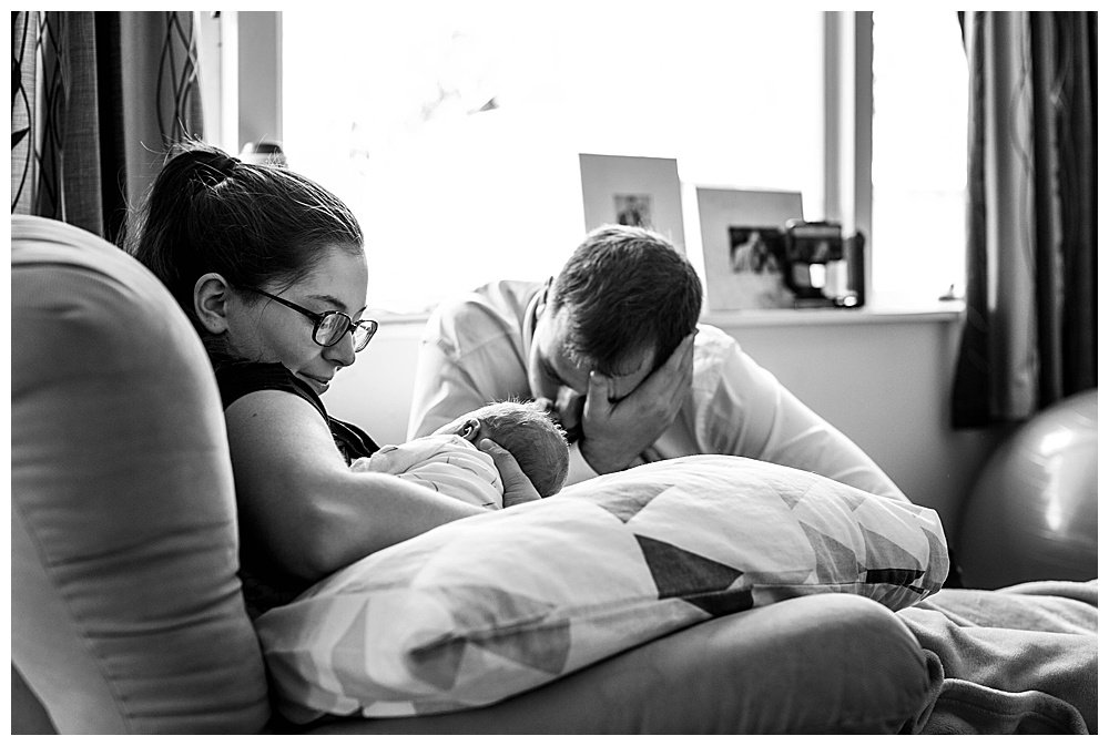 Tilly and Jared with newborn Abel.
