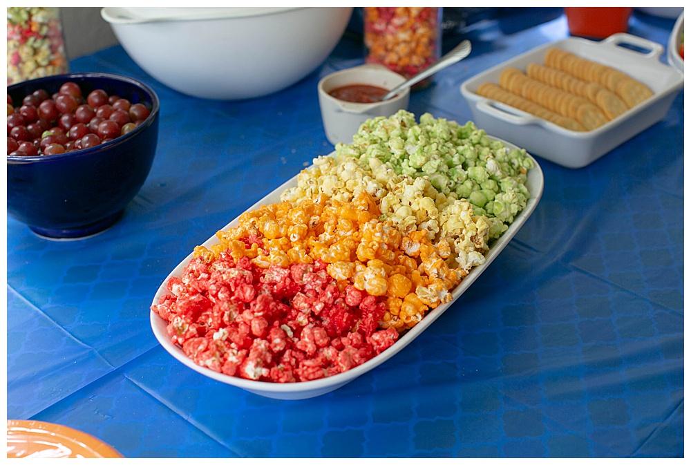 Rainbow popcorn made with JELLO