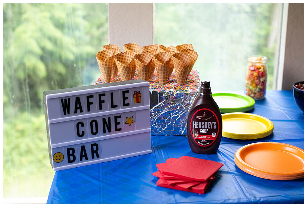Waffle cone bar at LEGO movie party.