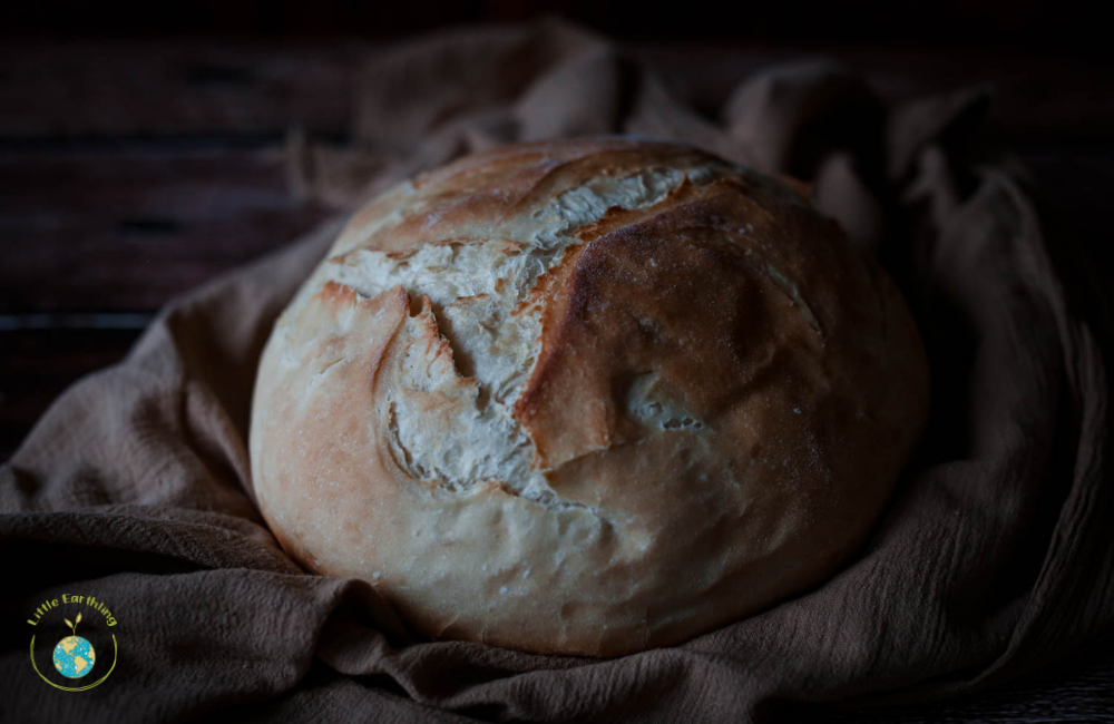 Dark and moody sourdough bread.