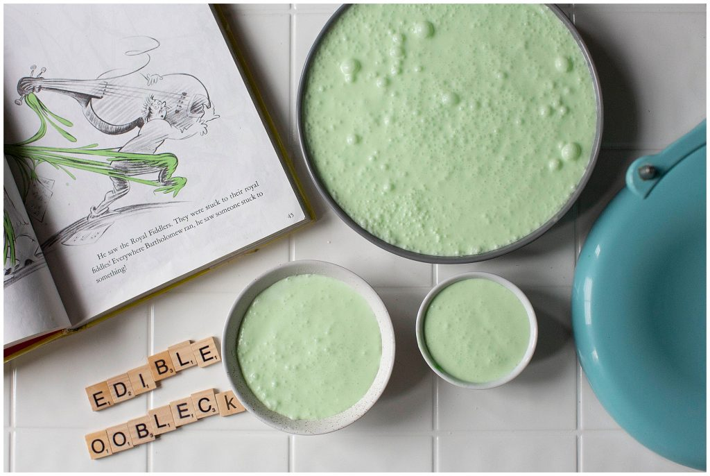 This easy edible oobleck makes the pefect dr seuss snack.