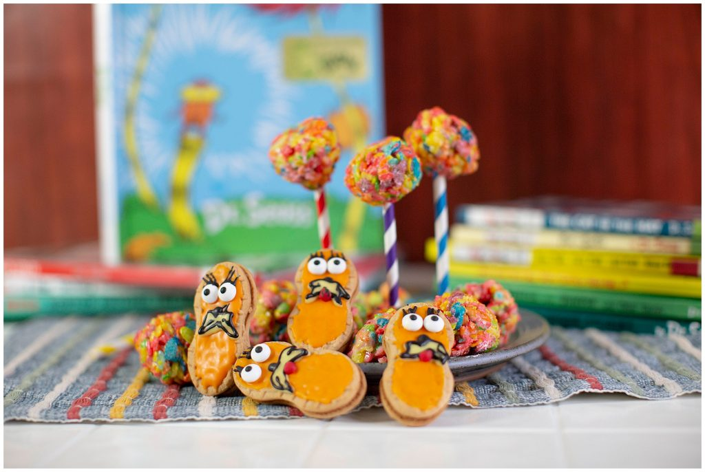 Lorax cookies and truffula tree cupcakes