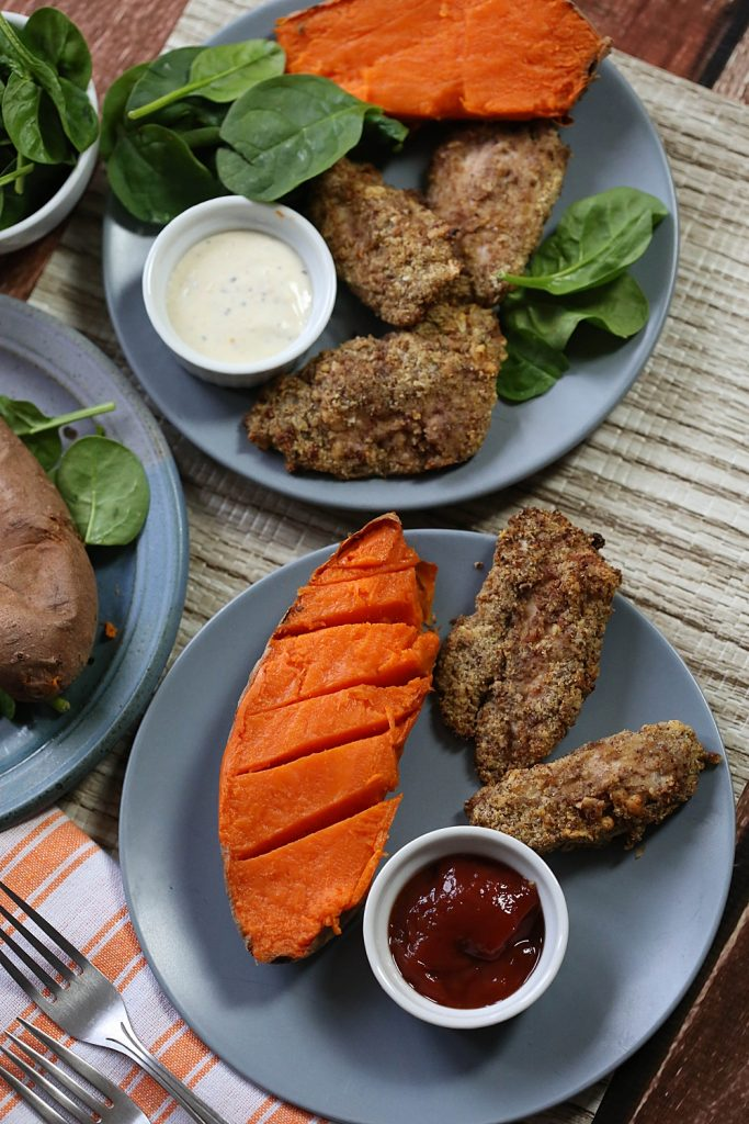 These air fryer chicken strips were a huge hit with my kids and they are gluten free!