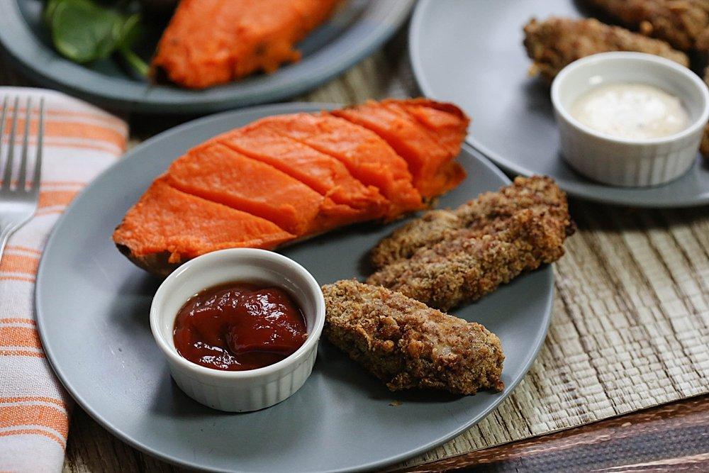 Gluten-free chicken strips made in the air fryer.