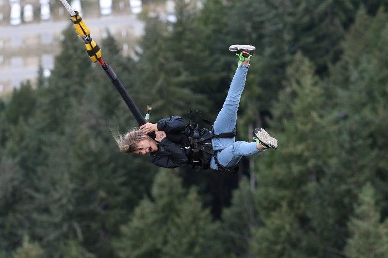 Kalina bungee jumping in New Zealand.