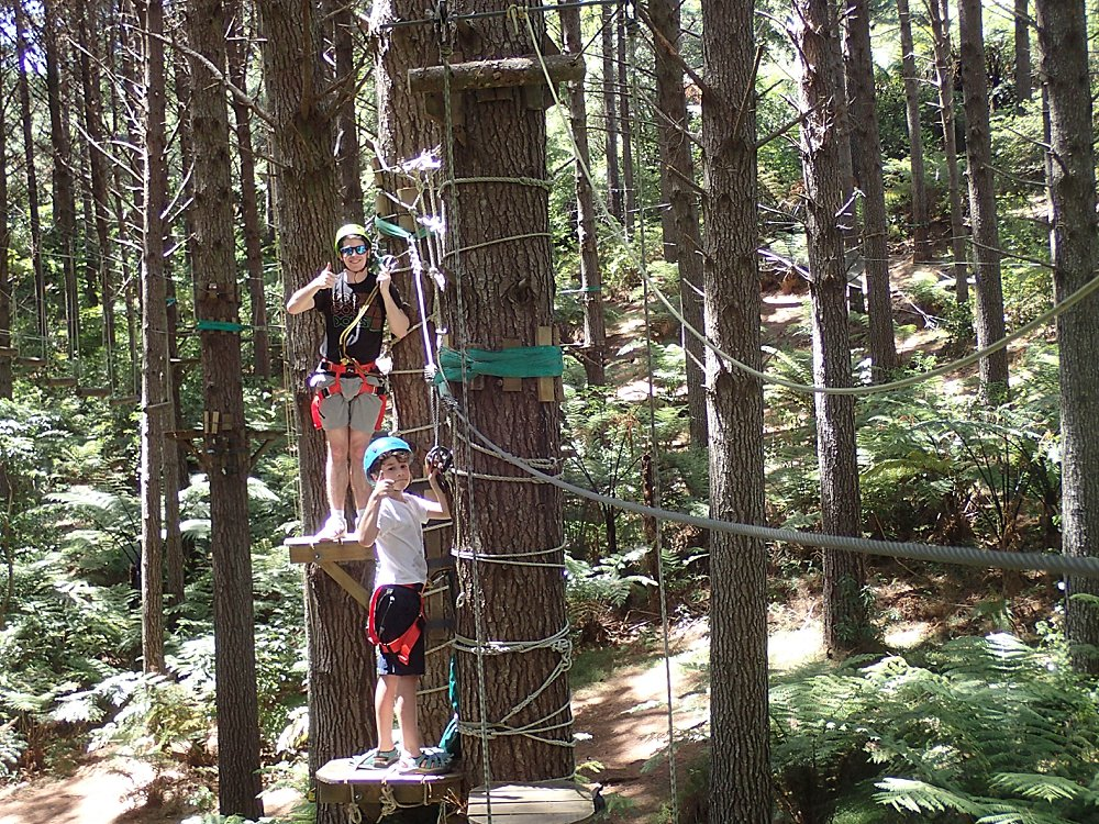 Judah and Apollo on ropes course at Adventure Forest.