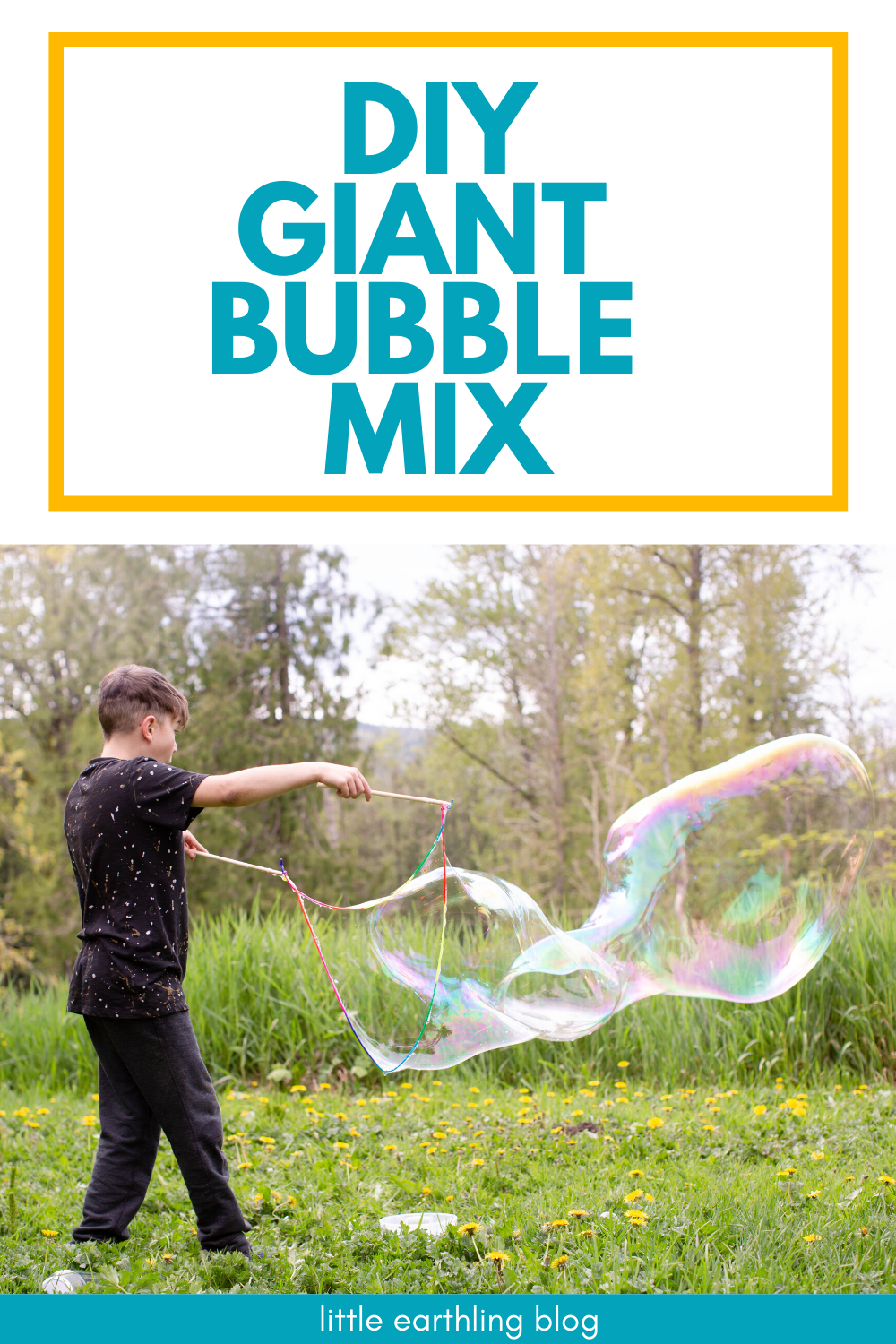 How to make giant bubbles at home with only three ingredients. These bubbles are huge and strong. This post also includes instructions on how to make bubble wands.