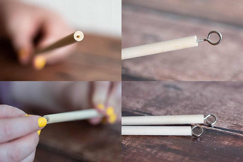 You can make an amazing giant bubble wand using pre-cut dowels and eye hooks.