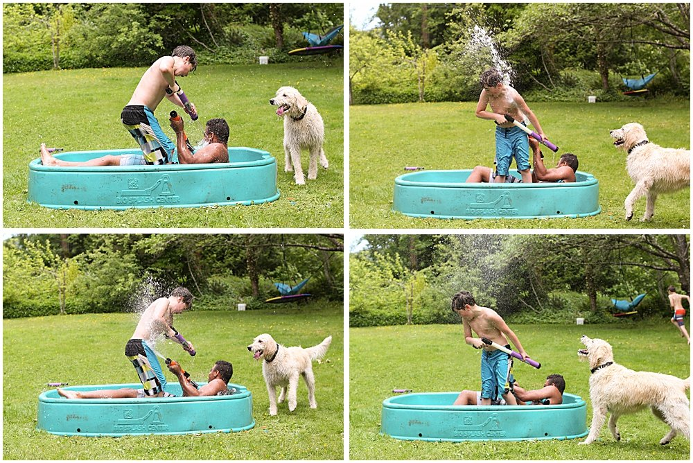 Water fight at a social distancing birthday party.