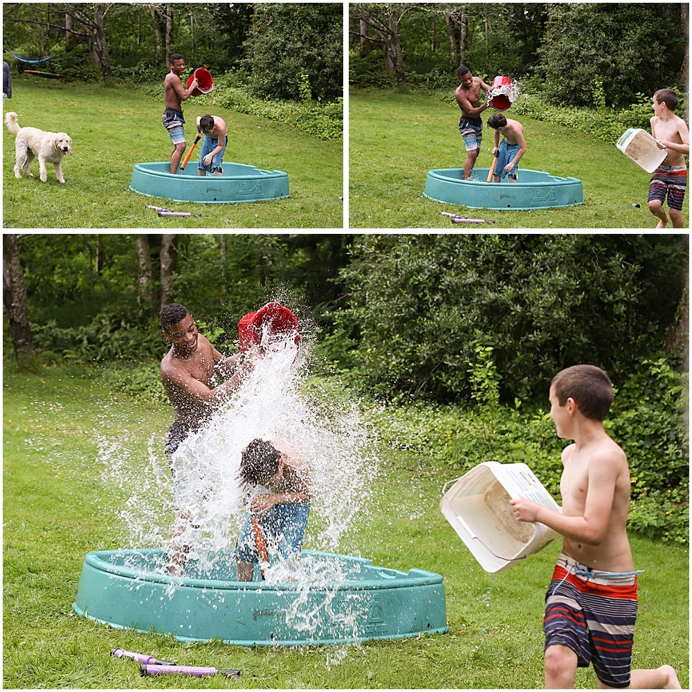 Water fight at Apollo's social distancing birthday party.
