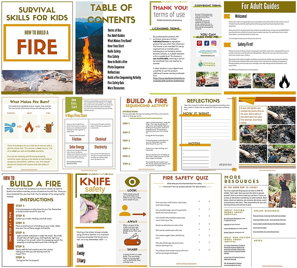 10 pages packed full of resources to teach your kids how to build a fire